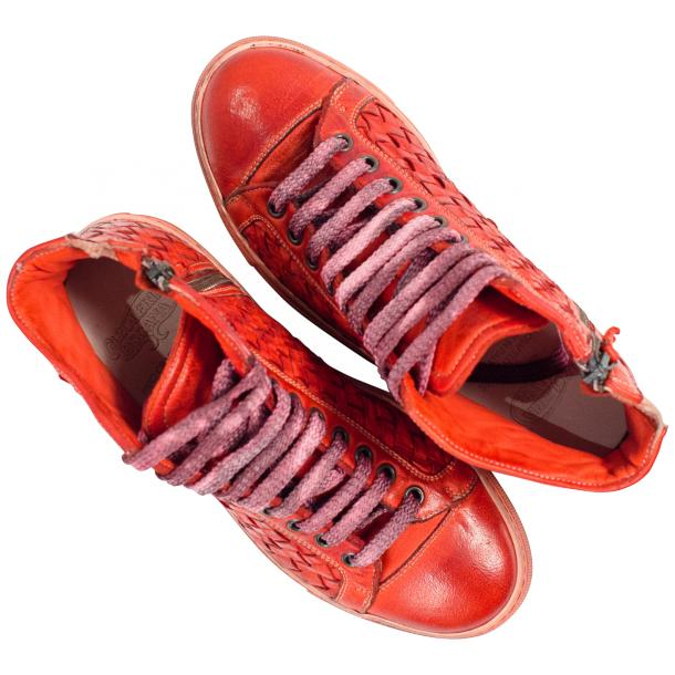 Melinda Dip Dyed Red Hand Woven High Top Sneaker  full-size #2