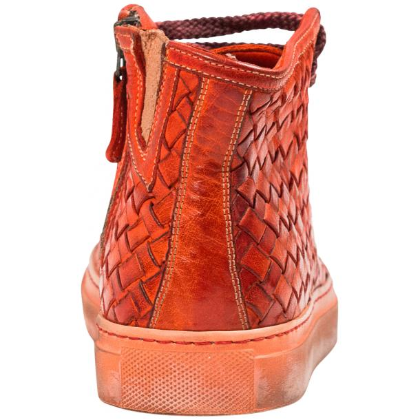 Melinda Dip Dyed Red Hand Woven High Top Sneaker  full-size #5