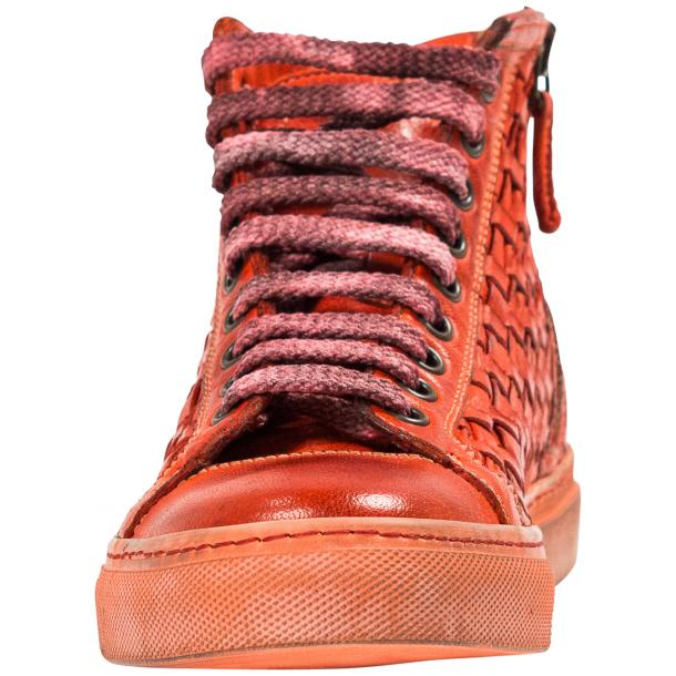 Melinda Dip Dyed Red Hand Woven High Top Sneaker  full-size #3