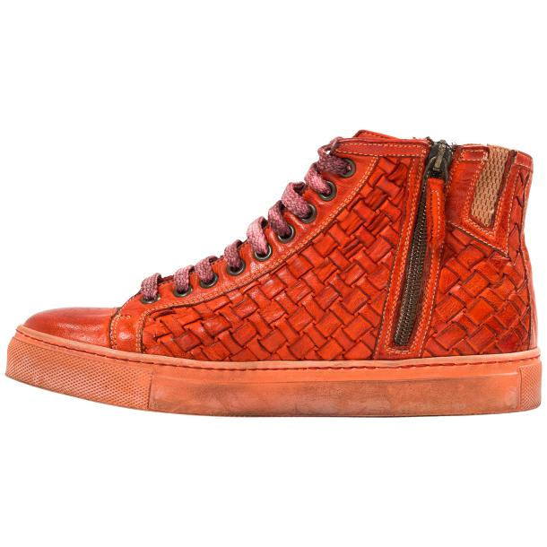 Melinda Dip Dyed Red Hand Woven High Top Sneaker  full-size #6