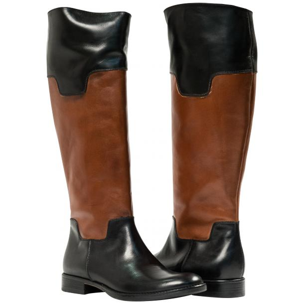 Lori Black and Brown Nappa Leather Tall Riding Boots full-size #1