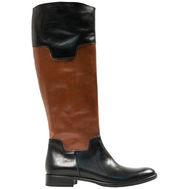 Lori Black and Brown Nappa Leather Tall Riding Boots thumb #4