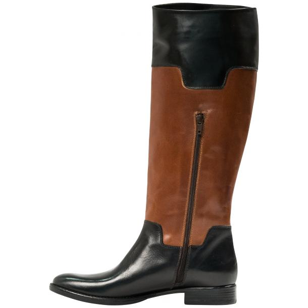 Lori Black and Brown Nappa Leather Tall Riding Boots thumb #3
