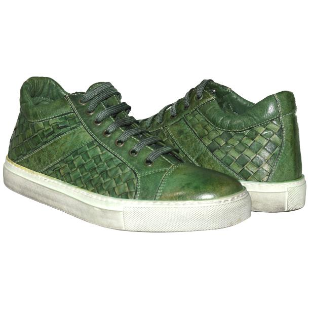 Veronica Dip Dyed Meadow Green Hand Woven Low Top Sneaker  thumb #1