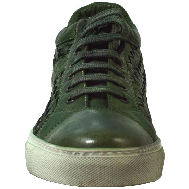 Veronica Dip Dyed Meadow Green Hand Woven Low Top Sneaker  thumb #2