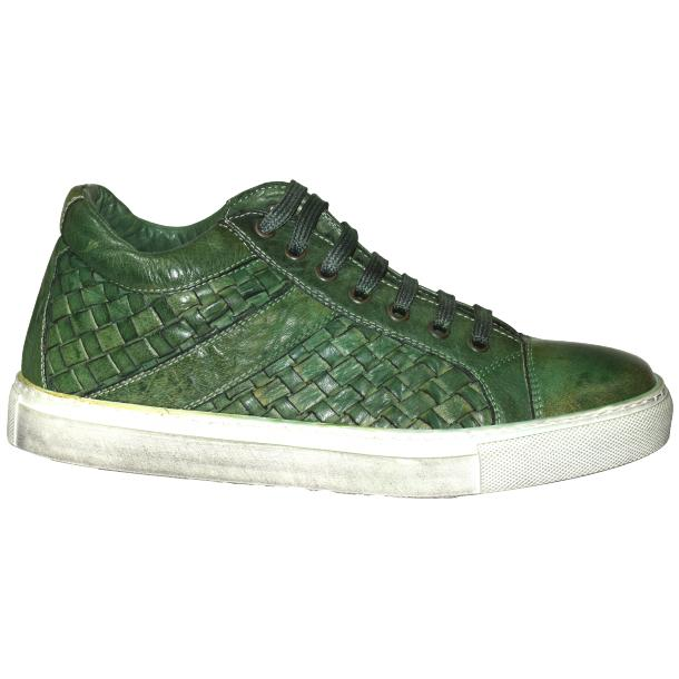 Veronica Dip Dyed Meadow Green Hand Woven Low Top Sneaker  thumb #3