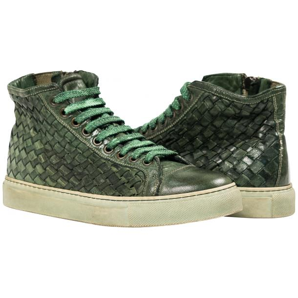Melinda Dip Dyed Green Hand Woven High Top Sneaker  thumb #1