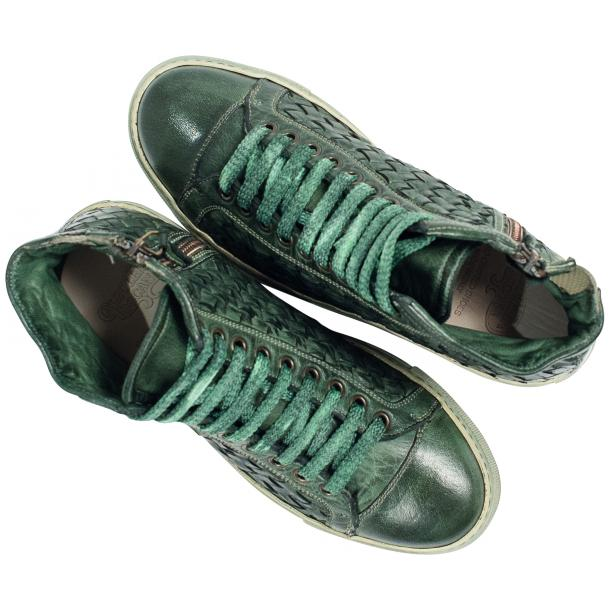 Melinda Dip Dyed Green Hand Woven High Top Sneaker  full-size #2