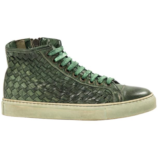 Melinda Dip Dyed Green Hand Woven High Top Sneaker  thumb #4