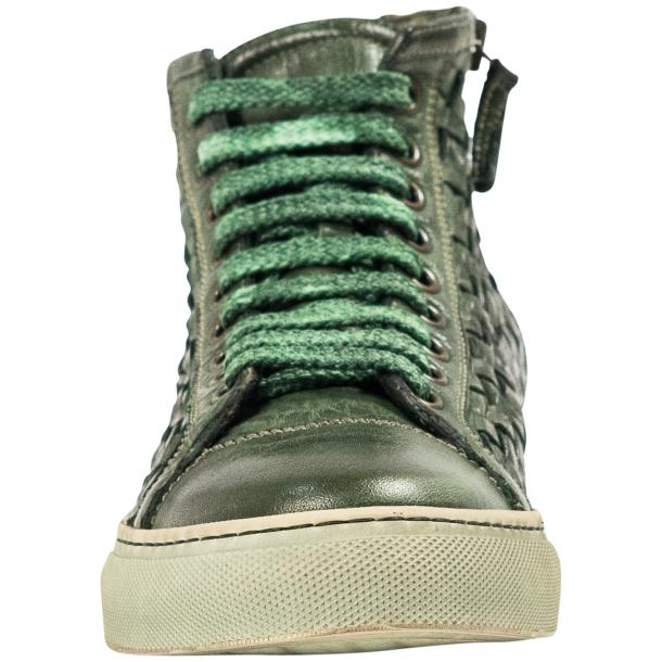 Melinda Dip Dyed Green Hand Woven High Top Sneaker  thumb #3