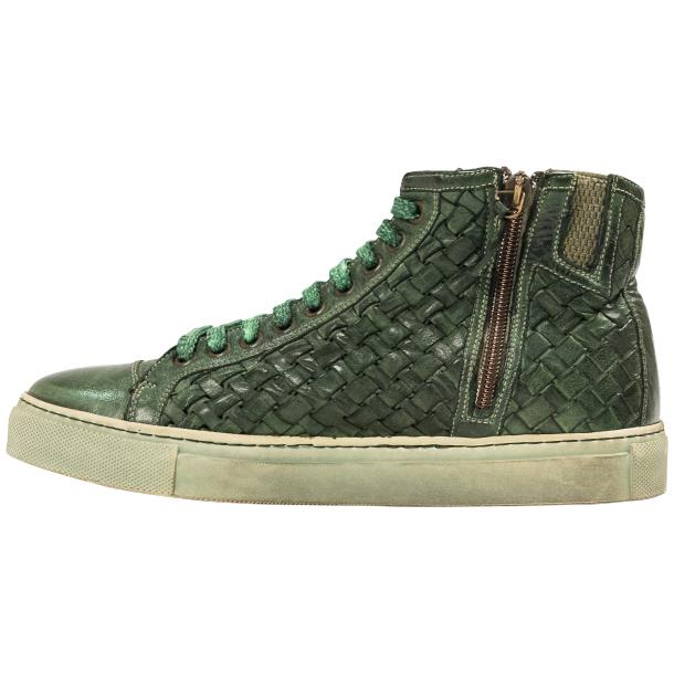 Melinda Dip Dyed Green Hand Woven High Top Sneaker  thumb #5
