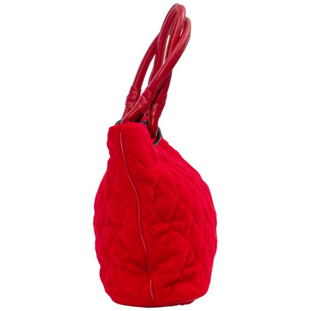 Lily Red Quilted Totebag thumb #2