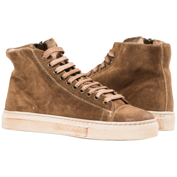 Ava Beige Dip Dyed Suede High Top Sneakers full-size #1