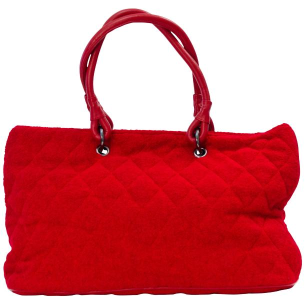 Lily Red Quilted Totebag thumb #4