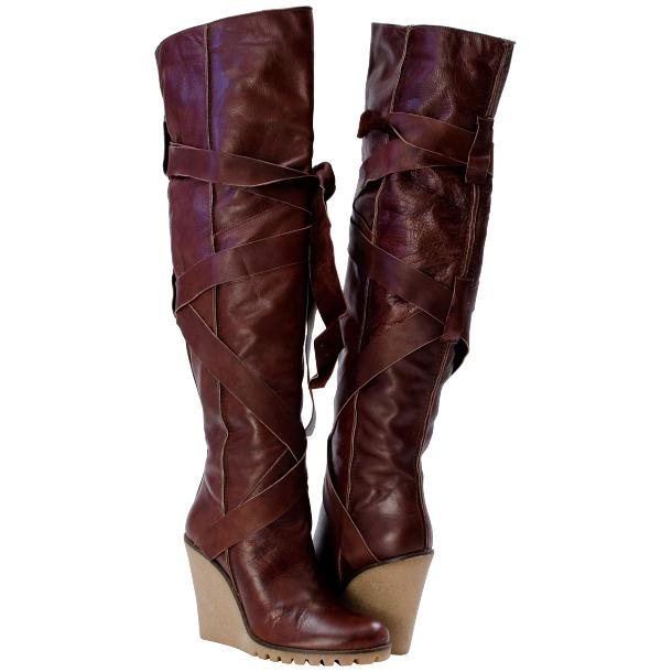 Regina Over the Knee Wedge Boots Red Brown full-size #1