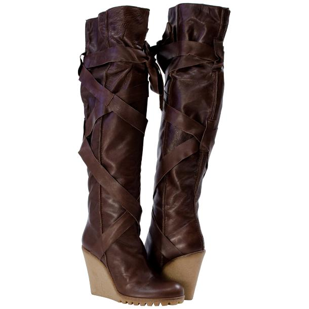 Regina Over the Knee Wedge Boots Brown full-size #1