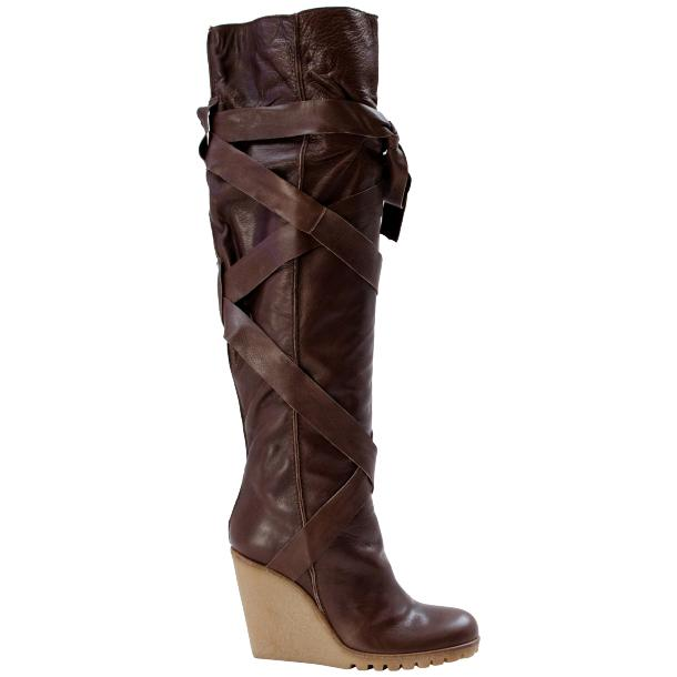 Regina Over the Knee Wedge Boots Brown thumb #2