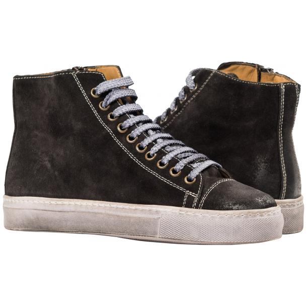 Ava Dark Grey Dip Dyed Suede High Top Sneakers full-size #1