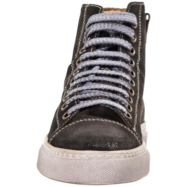 Ava Dark Grey Dip Dyed Suede High Top Sneakers thumb #3