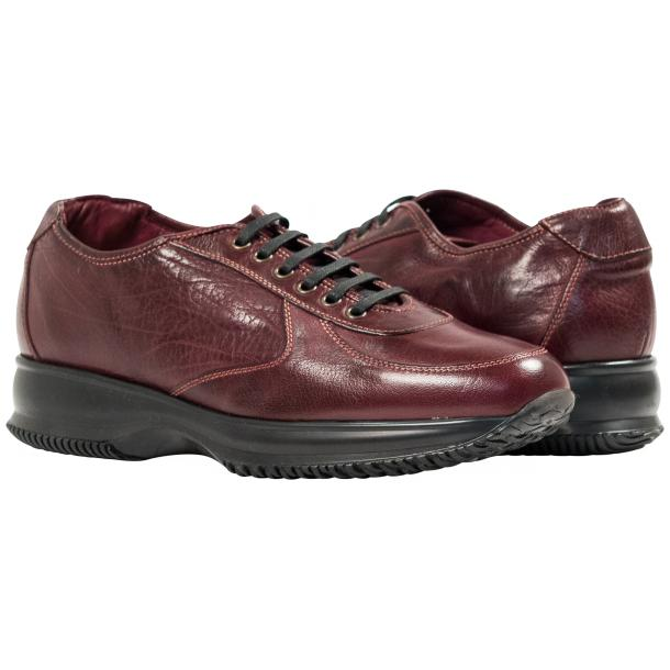 Fredo Oxblood Red Nappa Leather Thick Rubber Sole Sneakers  thumb #1