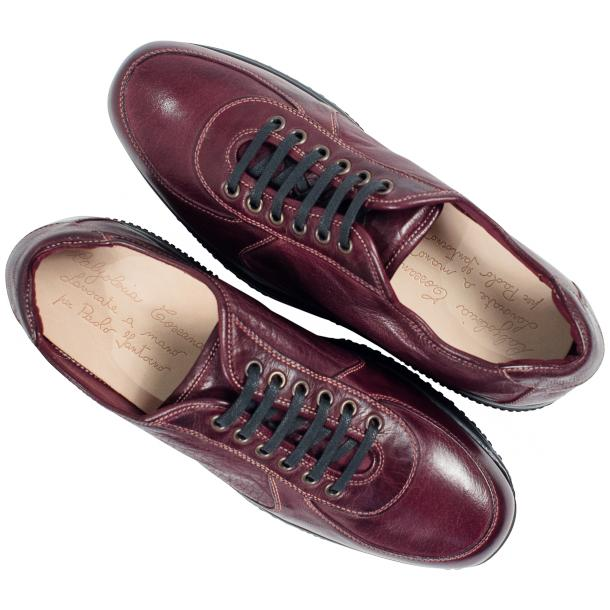 Maximo Oxblood Red Nappa Leather Thick Rubber Sole Sneakers  full-size #2