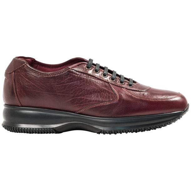 Maximo Oxblood Red Nappa Leather Thick Rubber Sole Sneakers  full-size #4
