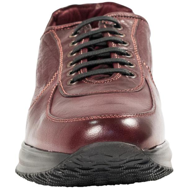 Maximo Oxblood Red Nappa Leather Thick Rubber Sole Sneakers  full-size #3