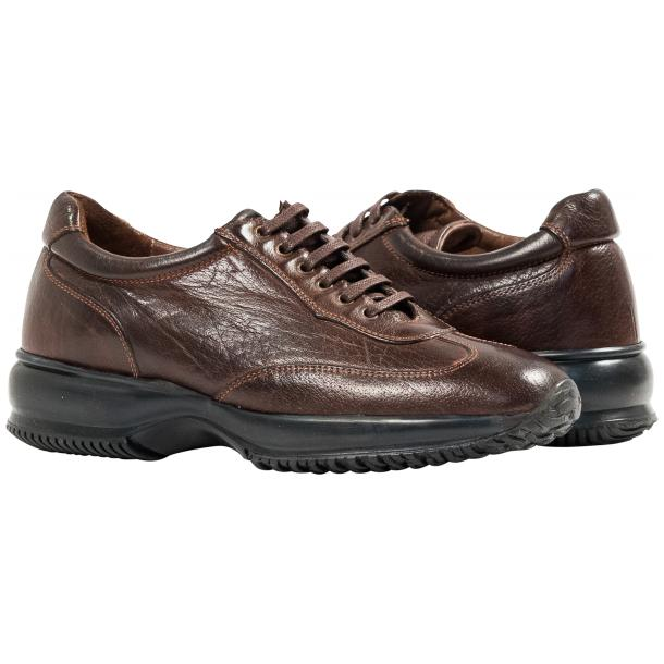 Misha Brown Nappa Leather Rubber Sole Sneaker Shoes full-size #1