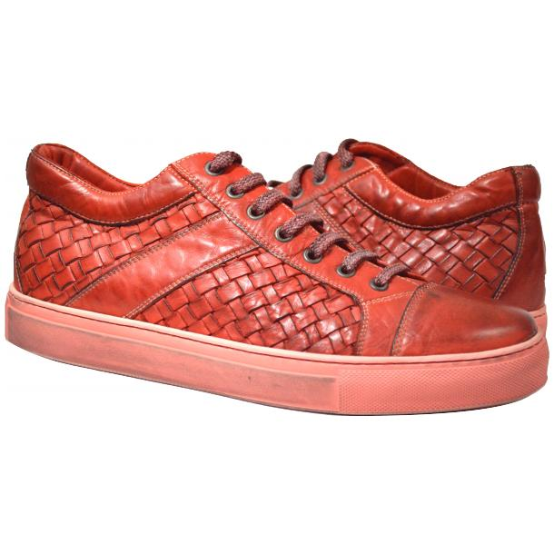 Tyler Dip Dyed Red Woven Sneakers Tan full-size #1