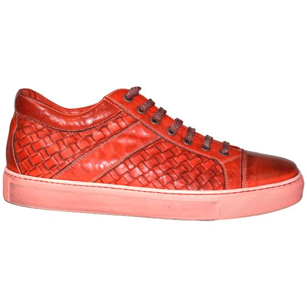 Tyler Dip Dyed Red Woven Sneakers Tan thumb #3