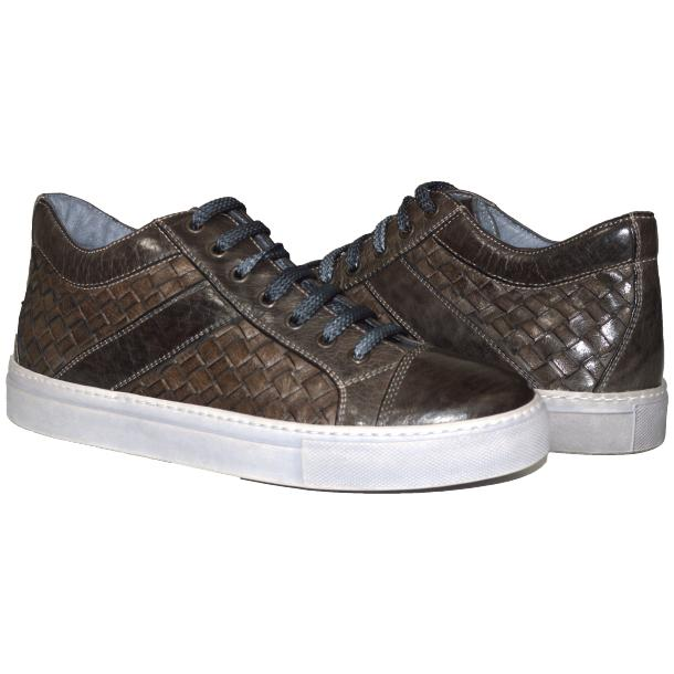 Tyler Dip Dyed Stone Grey Woven Sneakers Tan thumb #1