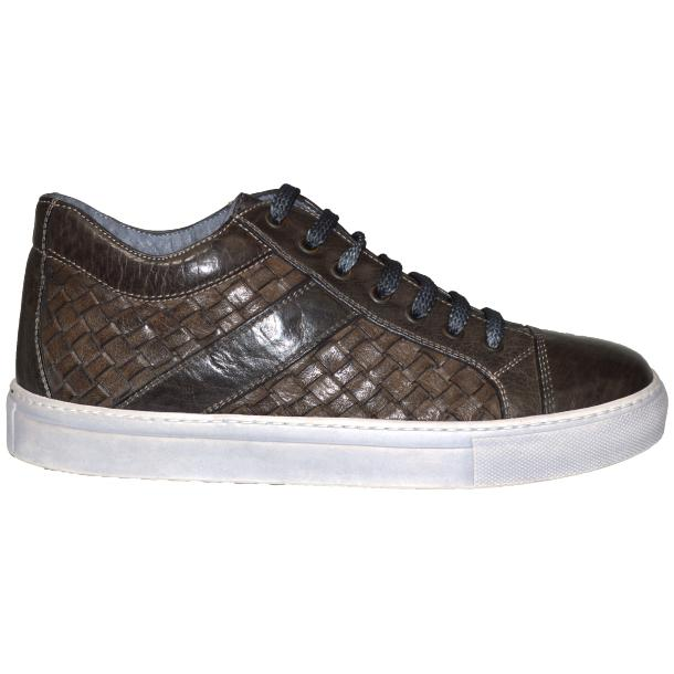 Tyler Dip Dyed Stone Grey Woven Sneakers Tan thumb #3