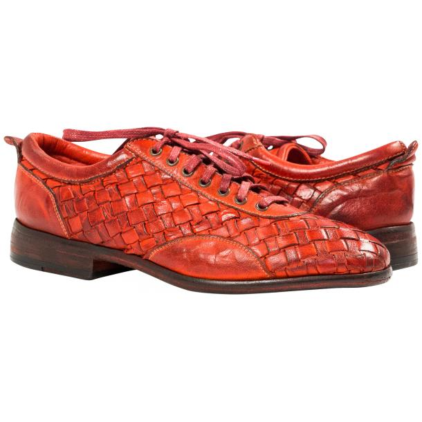 Serena Red Dip Dyed Nappa Leather Handwoven Lace Up Shoes thumb #1