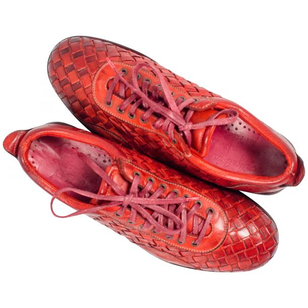 Serena Red Dip Dyed Nappa Leather Handwoven Oxfords thumb #2