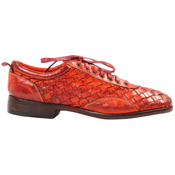 Serena Red Dip Dyed Nappa Leather Handwoven Lace Up Shoes thumb #4