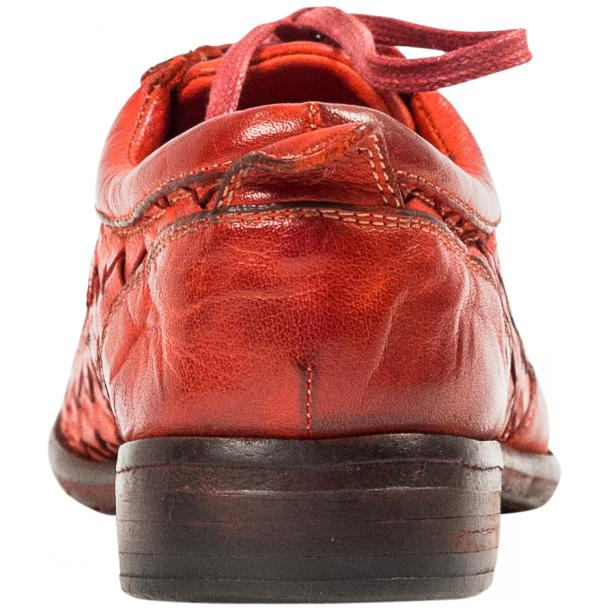 Serena Red Dip Dyed Nappa Leather Handwoven Oxfords thumb #5