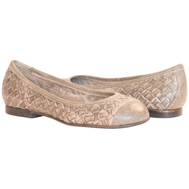 Maya Dip Dyed Cloud Grey Woven Leather Ballerina Flats full-size #1