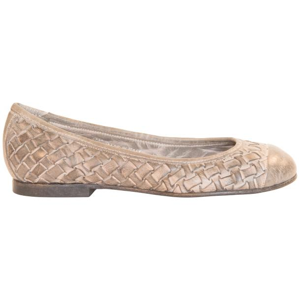 Kate Dip Dyed Cloud Grey Woven Leather Ballerina Flats thumb #4