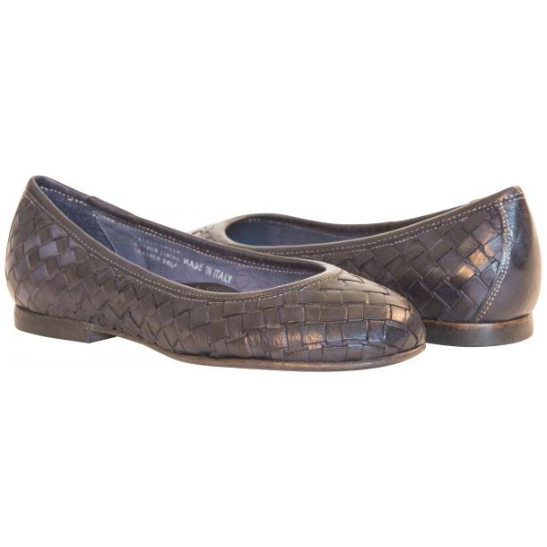 Marianna Dip Dyed Navy Blue Leather Woven Ballerina Flats thumb #1