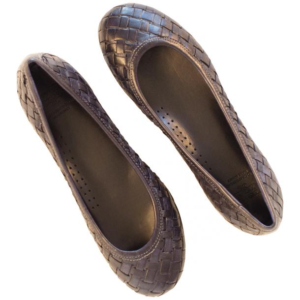 Adele Dip Dyed Navy Blue Leather Woven Ballerina Flats thumb #2