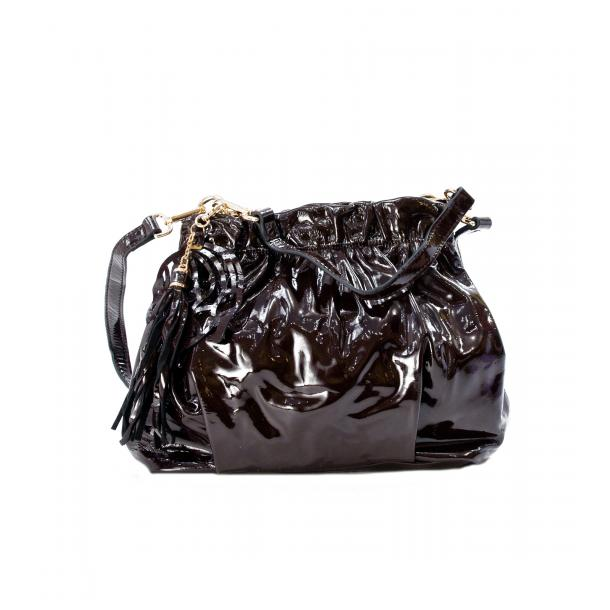 In The Mission Brown Patent Leather Shoulder Bag full-size #1