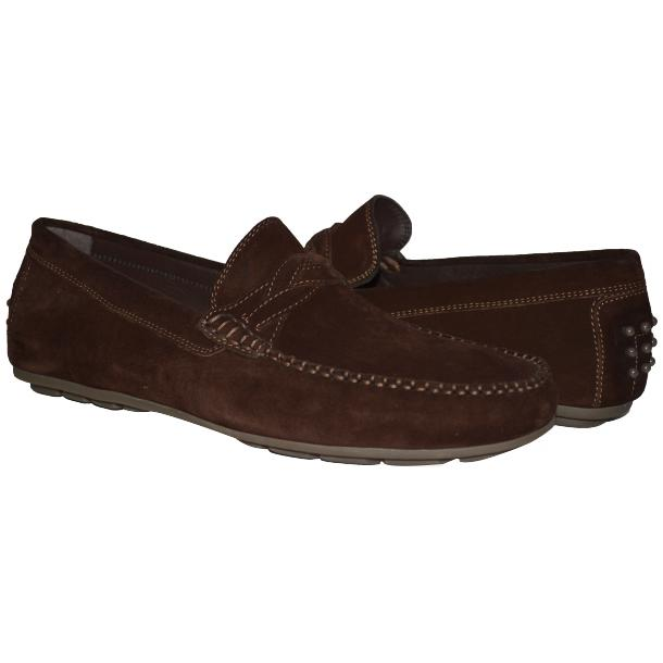 Dino Chocolate Brown Suede Driver Loafers  full-size #1