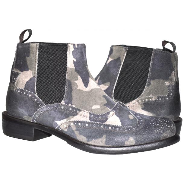 Ayla Camouflage Grey Suede Wing Tip Dip Dyed Chelsea Boot full-size #1