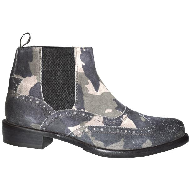 Ayla Camouflage Grey Suede Wing Tip Dip Dyed Chelsea Boot thumb #3