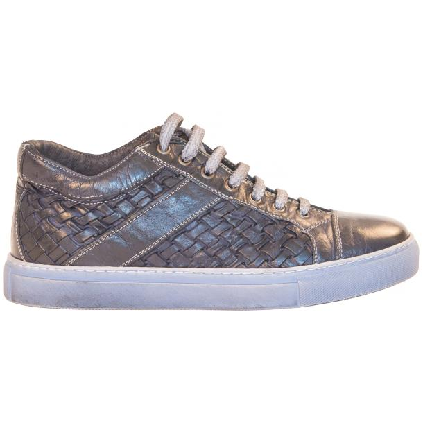 Carlo Dip Dyed Blue Woven Sneakers  thumb #4