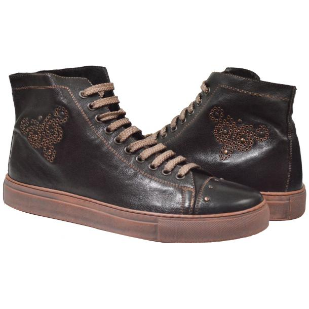 San Siro Dip Dyed Dark Brown High Top Sneaker full-size #1