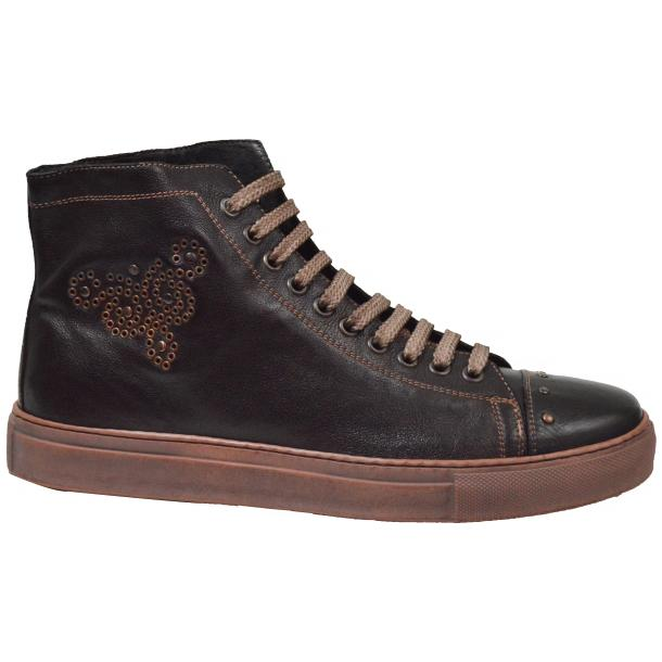 San Siro Dip Dyed Dark Brown High Top Sneaker thumb #4