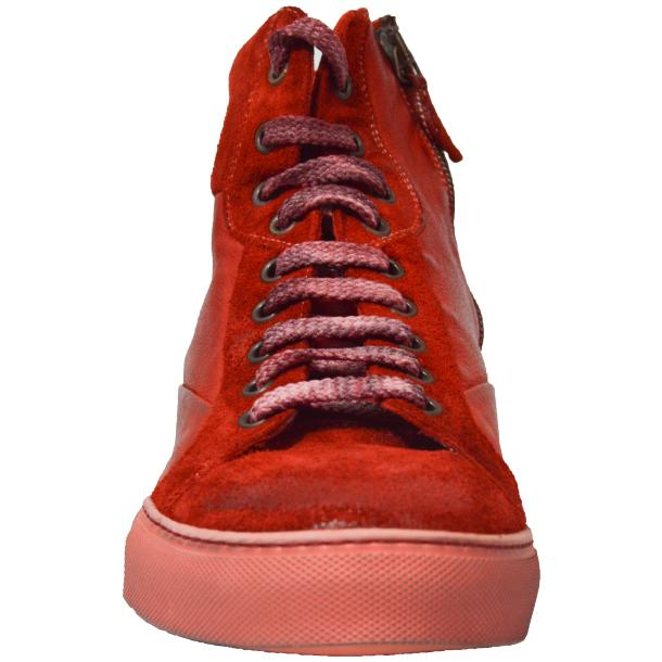Errol Dip Dyed Fire Red Suede High Top Sneaker full-size #2