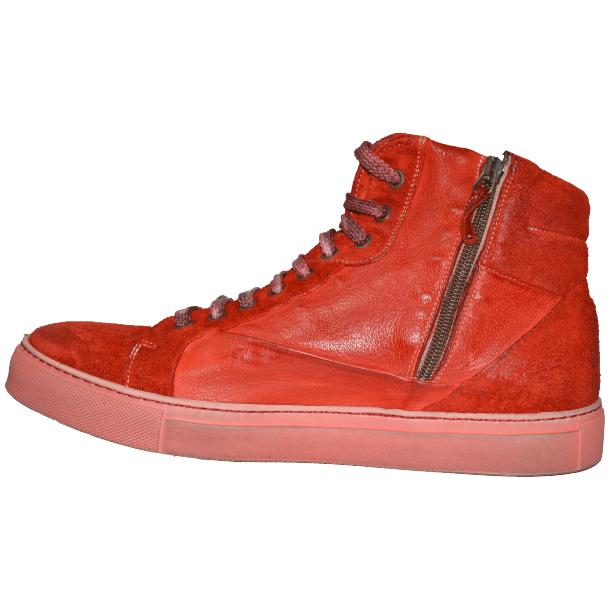 Errol Dip Dyed Fire Red Suede High Top Sneaker full-size #5