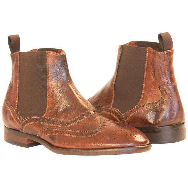 Cameron Dip Dyed Brown Nappa Leather Wingtip Chelsea Boots full-size #1